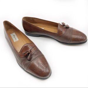 Mezlan Havana Leather Tassel Cap Toe Dress Loafers